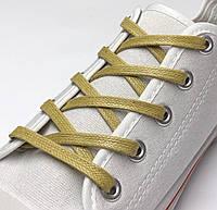 Шнурки с пропиткой плоские горчица 100 см (Ширина 5 мм), фото 1