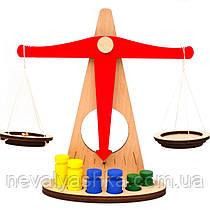 Деревянные Весы Купить Ваги игрушечные в плёнке, детские игрушка терези дерев'яні, Неваляшка 009494
