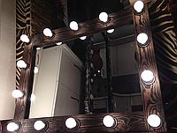 Гримерное зеркало с подсветкой из натурального дерева
