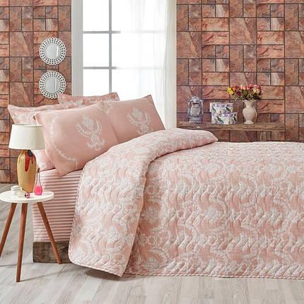 Покрывало 200х220 с наволочками на кровать, диван Очарование пудра, фото 2