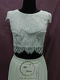 Свадебный кроп-топ+юбка из шифона айвори (молочный), фото 2