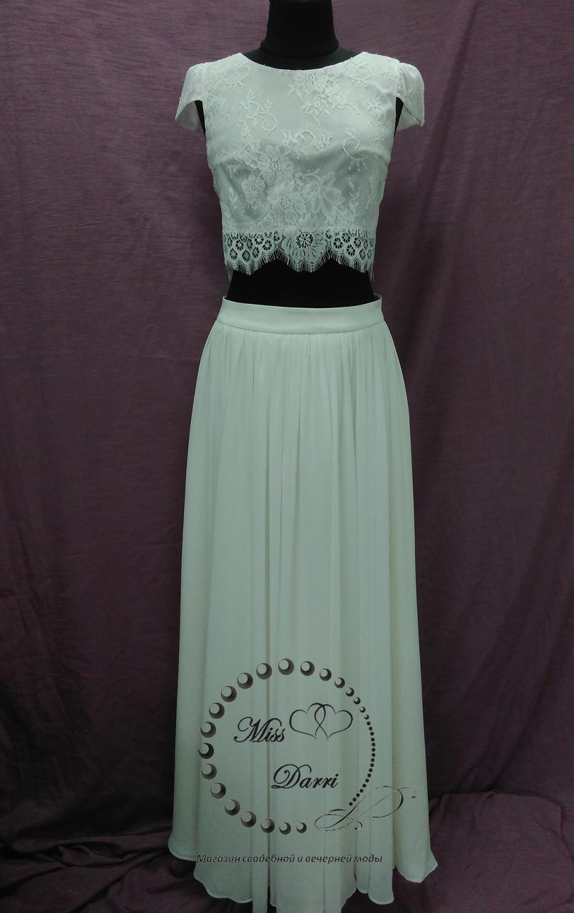 Свадебный кроп-топ+юбка из шифона айвори (молочный)