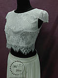 Свадебный кроп-топ+юбка из шифона айвори (молочный), фото 3