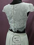 Свадебный кроп-топ+юбка из шифона айвори (молочный), фото 5