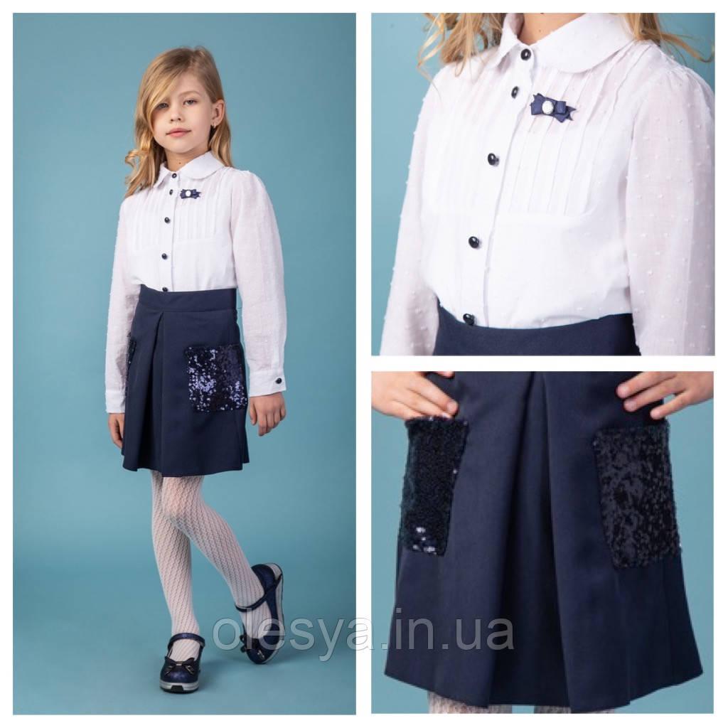 Блуза школьная в мелкий горошек и с брошью Jane тм Brilliant Размеры 122- 146