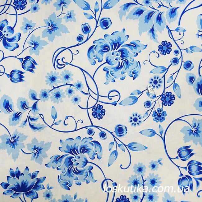 52011 Синий мотив на холсте. Ткани для кукол, декорирования и лоскутного шитья. 100% хлопок.