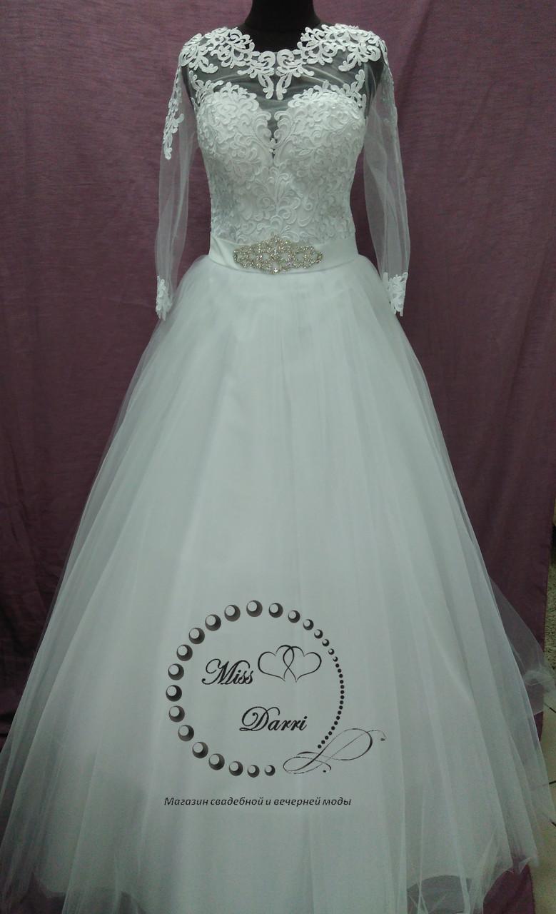 Платье свадебное белое с рукавом размер 48-50