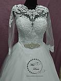 Платье свадебное белое с рукавом размер 48-50, фото 2
