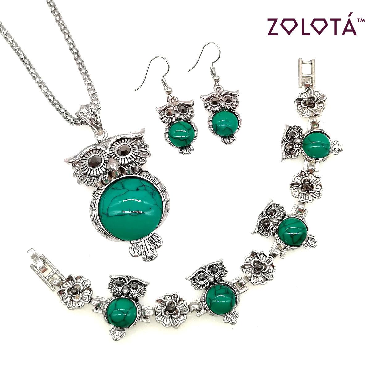 """Набір """"Сова""""з зеленої бірюзою прес. (підвіска на ланцюжку, сережки, браслет), НБ00165 (1)"""