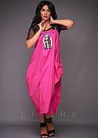 Стильный коттоновый сарафан с большими карманами в комплекте с футболкой из сетки с 50 по 56 размер