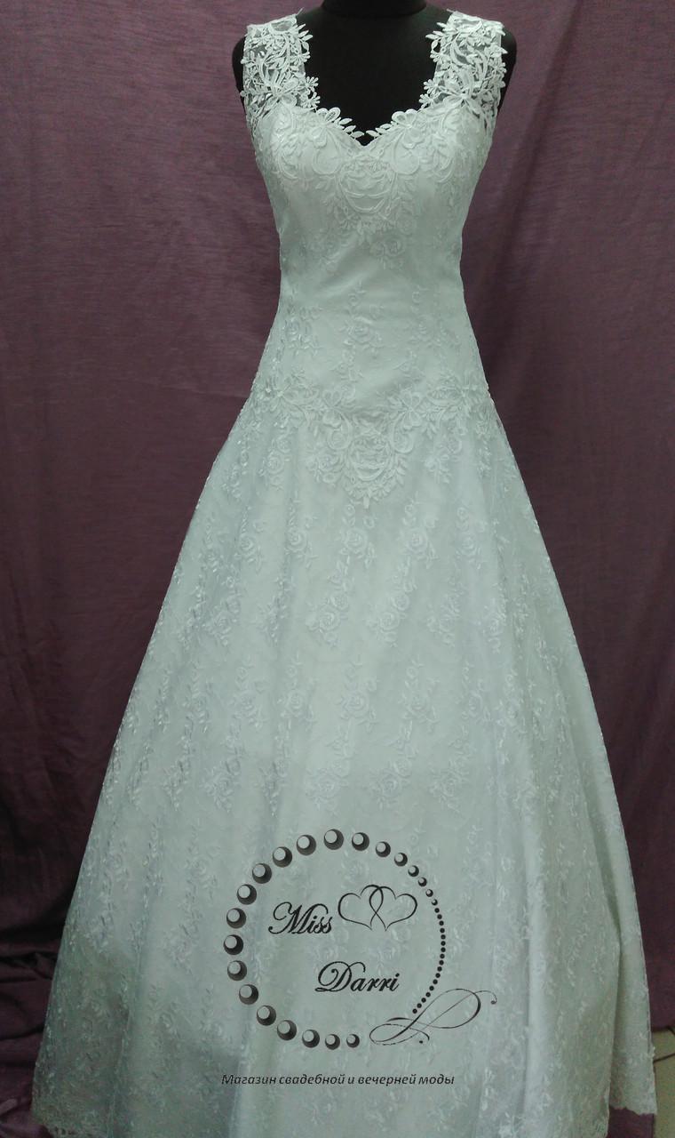 Свадебное платье кружевное белое А-силуэт размер 46-50