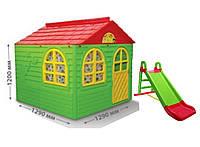 Детский игровой домик с горкой ТМ Doloni, большой пластиковый домик и горка