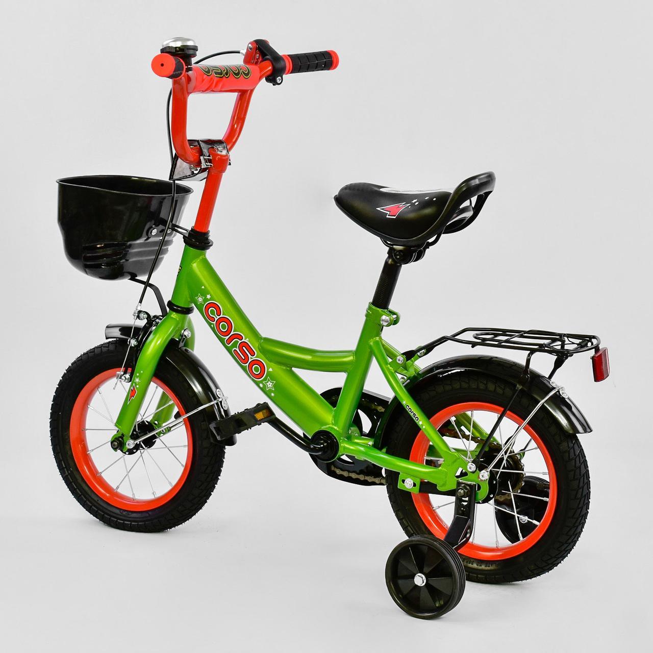 """Велосипед 12"""" дюймів 2-х колісний G-12517 """"CORSO"""" ручне гальмо, кошик, дзвіночок, сидіння з ручкою,"""