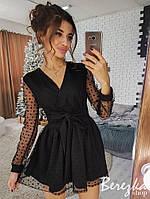 Платье мини на запах -  юбка пышная сетка со звездами на подкладке