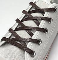 Шнурки с пропиткой плоские темно-коричневые 150 см (Ширина 5 мм), фото 1