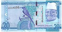 Банкнота Гамбии 20 даласи 2015 г. UNC