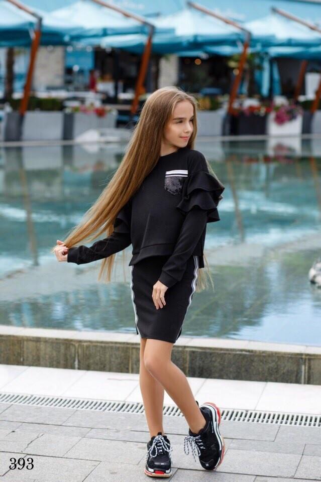 Костюм юбочный для девочки свитшот+юбка итал трикотаж 134,140,146,152