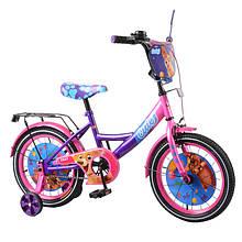 """Двухколесный детский велосипед 16"""" TILLY Cute T-216217, багажник, звонок, фиолетовый+розовый"""