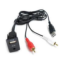 Кабель Audio 3.5mm 2RCA AUX USB Toyota Volkswagen Peugeot BMW