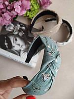 Женский обруч-чалма мятный с цветочным рисунком