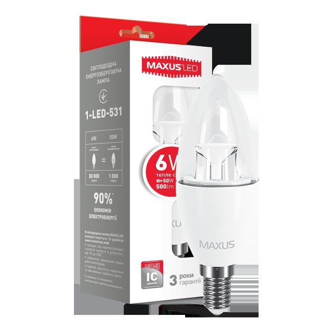 Лампа світлодіодна Maxus LED C37 CL-C 6w 3000K E14 1-LED-531