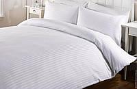 Комплект постельного белья Страйп Сатин Белая полоса 1 см Двуспальный Евро Макси