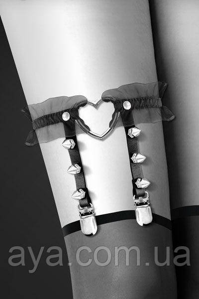 Гартер Bijoux Pour Toi - WITH HEART AND SPIKES Black