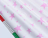 """Клапоть сатину """"Середні та малі зірки"""" рожеві на білому, №1801с, розмір 38*78 см, фото 4"""