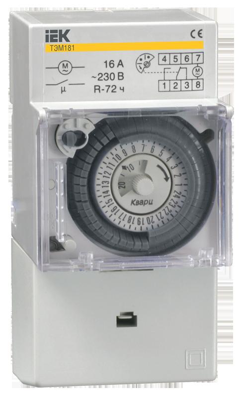 Таймер ТЭМ181 аналоговый 16А 230В на DIN-рейку ИЭК