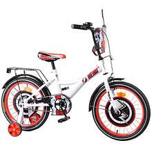 """Детский двухколёсный велосипед 18"""" со стальной рамой и страховочными колёсами TILLY Hero T-218212, белый"""