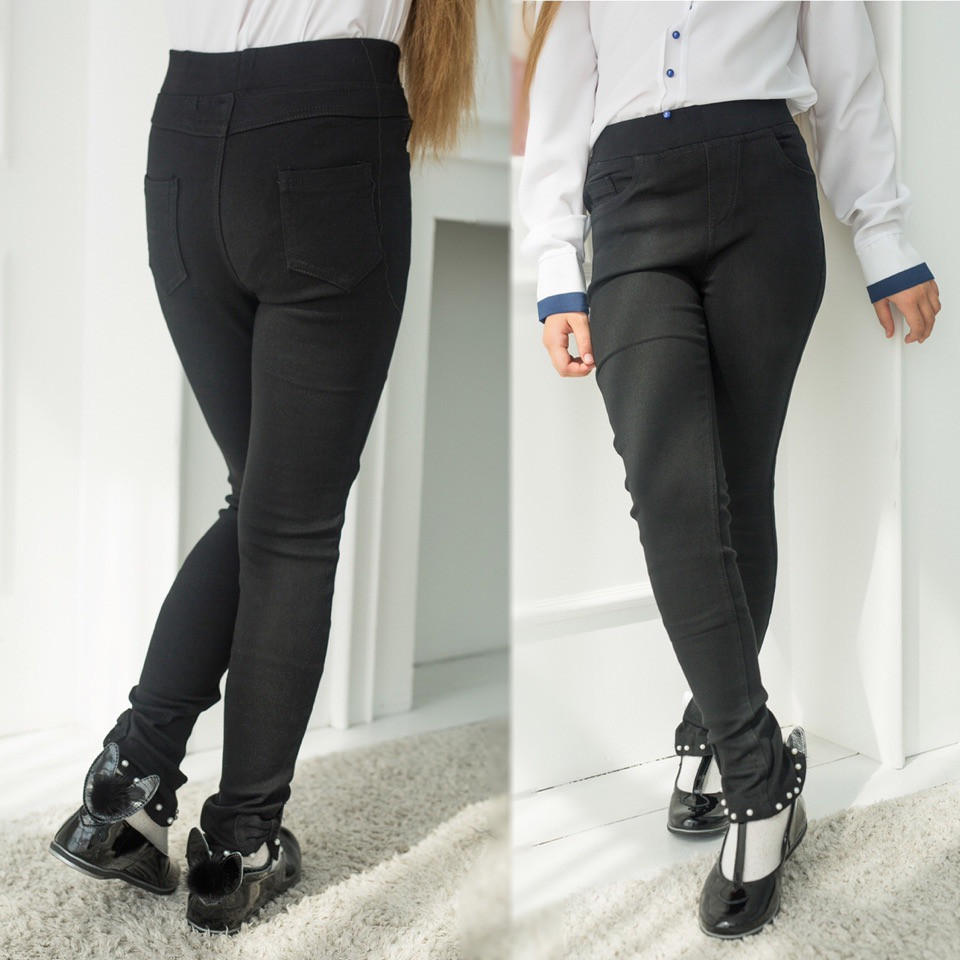 """Детские школьные брюки для девочки """"Бусинка"""" с карманами (2 цвета)"""