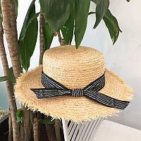 Шляпка канотье с посатаными полями и лентой черной, фото 1