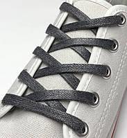 Шнурки с пропиткой плоские темно-серые 70 см (Ширина 5 мм), фото 1