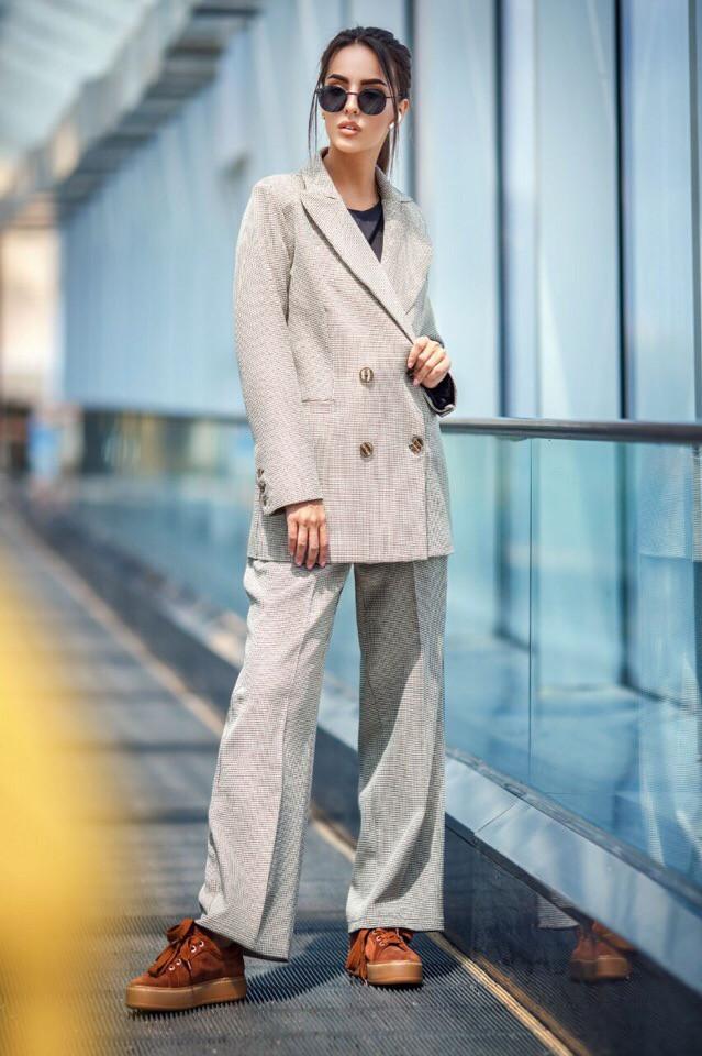 Женский брючный костюм для офиса с принтом мелкая Гусиная лапка