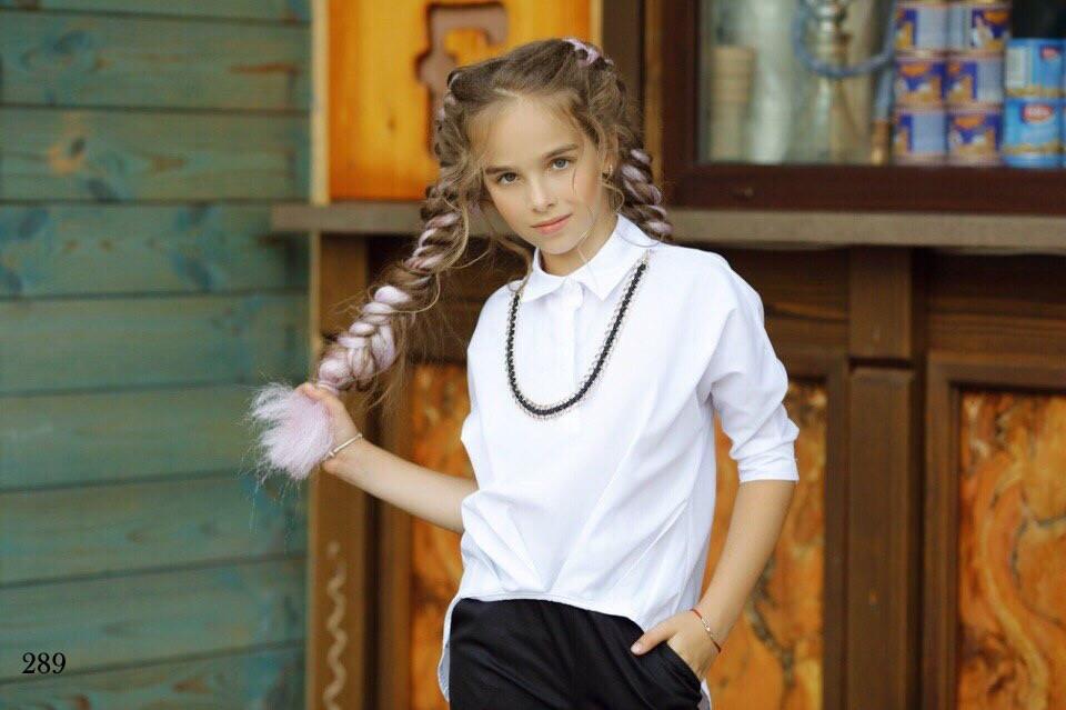 Блуза шкільна для дівчинки регланом коттон 134,140,146,152