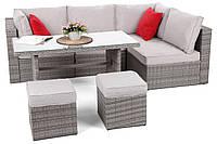 Комплект садовой мебели плетеной из ротанга MILANO DINNER серый