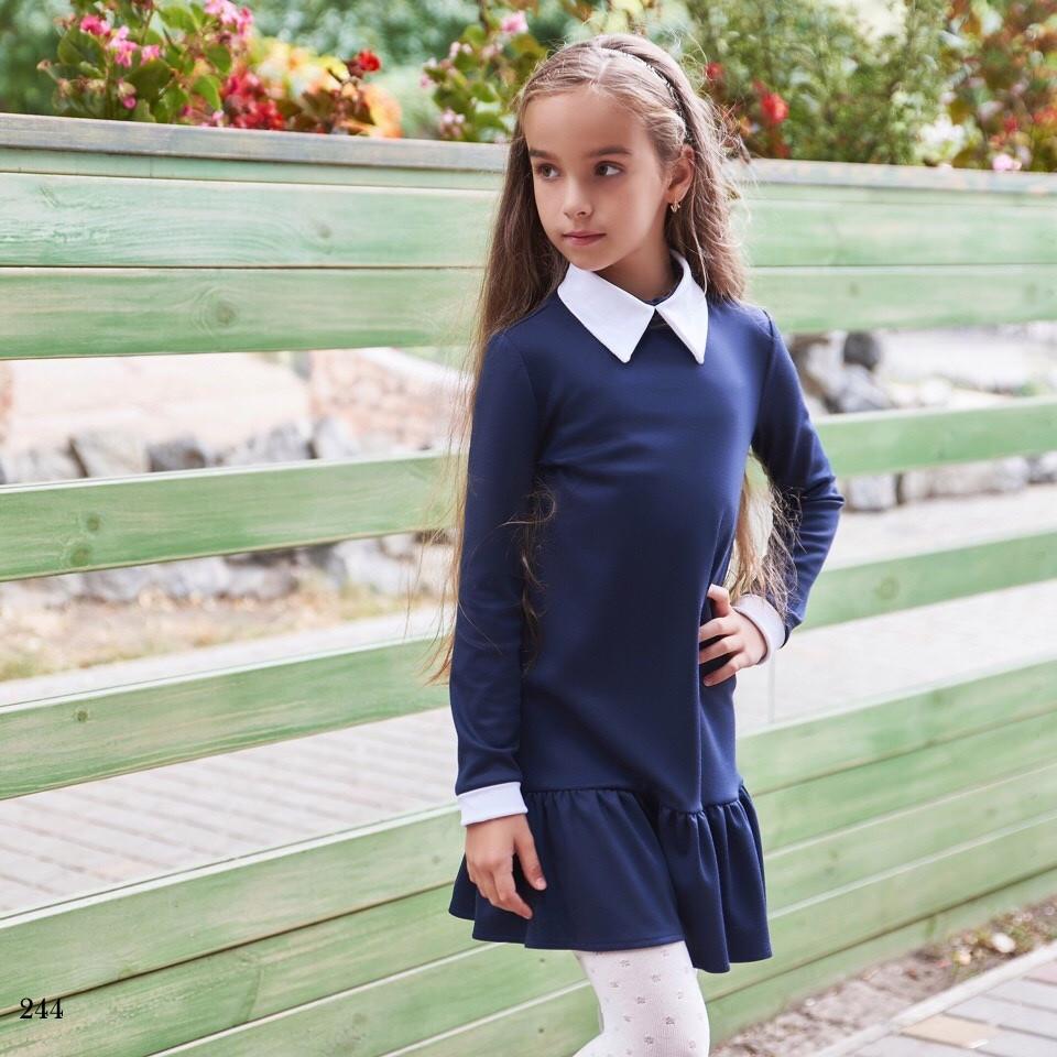 Платье школьноедлинный рукав с воротничком низ рюш франц трикотаж 134,140,146,152