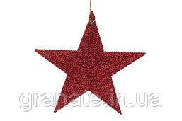 Елочное украшение Звезда, цвет - красный 11см (45 шт)