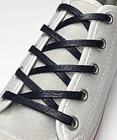 Шнурки с пропиткой плоские темно-синие 80 см (Ширина 5 мм), фото 1