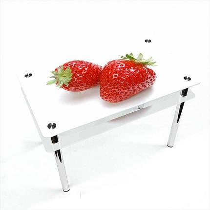 Стол кухонный стеклянный Прямоугольный с проходящей полкой Red berry 91х61 *Эко (БЦ-стол ТМ), фото 2