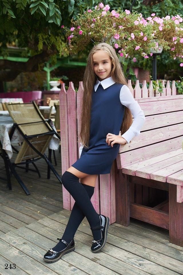 Платье школьноедлинный рукав с воротничком франц трикотаж+шифон 128,134,140,146