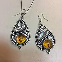 Серьги из янтаря и жемчуга в серебре. Серьги янтарь жемчуг Бива Индия