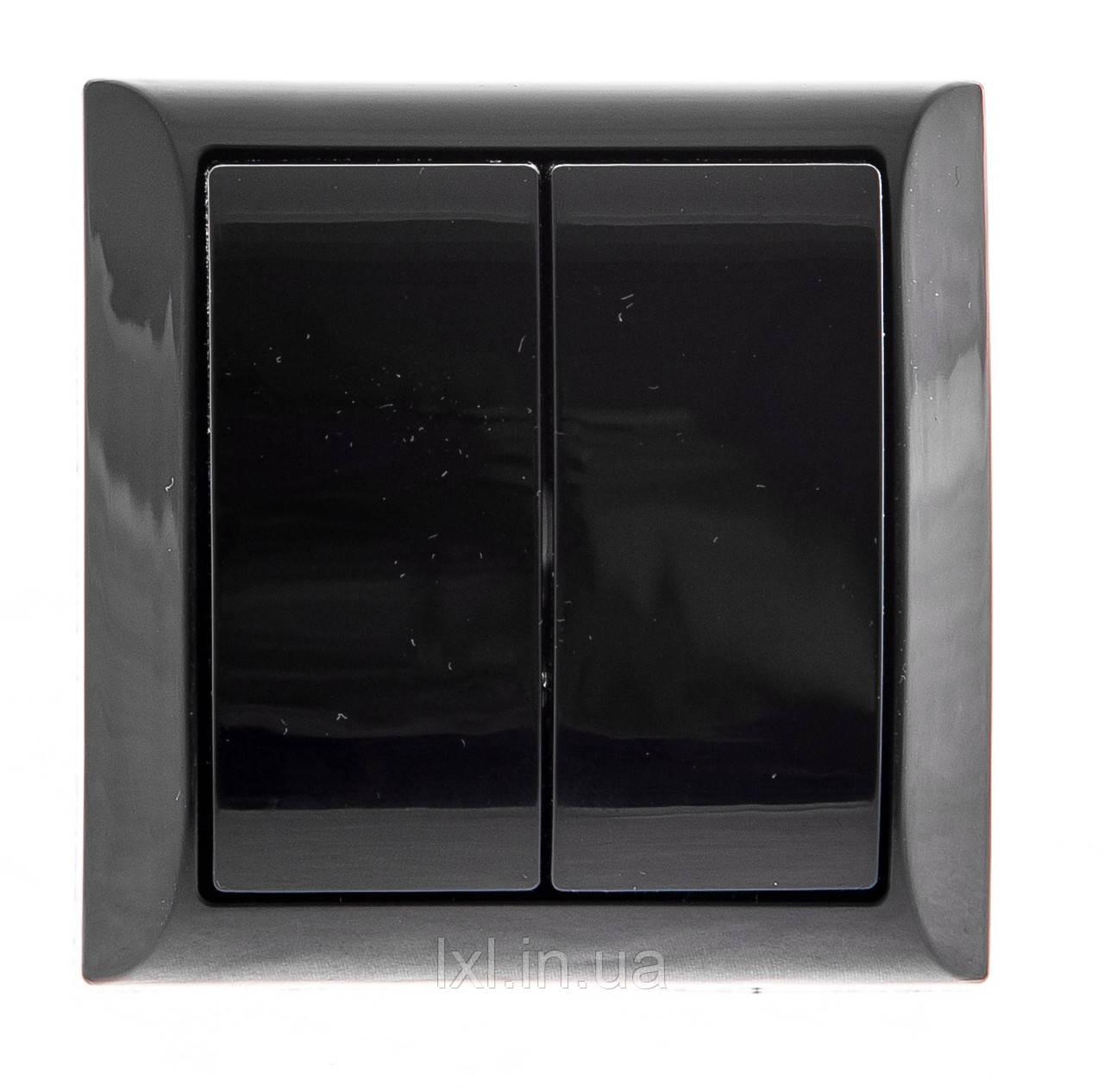 Вимикач подвійний зовнішній чорний LXL TERRA