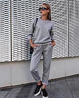 Спортивный костюм  женский укороченный. Цвет: серый и пудра. Мод. 230, фото 1