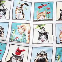 52014 Беззаботные кошечки . Ткань с изображением зверей. Натуральные ткани с рисунком., фото 1