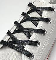 Шнурки с пропиткой плоские черные 110 см (Ширина 5 мм), фото 1