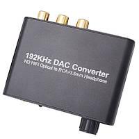 Конвертер - декодер звука HI-FI с цифрового ЦАП optical Toslink S/PDIF оптического в аналоговый 2.0 стерео c регулятором громкости ( WAZ-HD ARC10 )