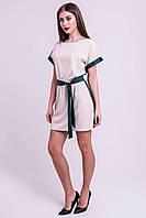 ✔️ Платье летнее с поясом Милинда двухцветное 44-52 размера с зеленым, фото 1