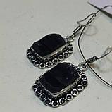 Черный турмалин шерл серьги с натуральным черным турмалином в серебре Индия, фото 2
