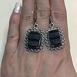 Черный турмалин шерл серьги с натуральным черным турмалином в серебре Индия, фото 3